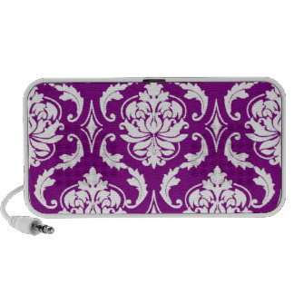 Girly Purple Damask Pattern iPod Speakers