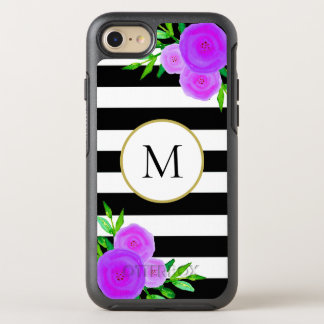 Girly Purple Floral Monogram Black White Striped OtterBox Symmetry iPhone 8/7 Case