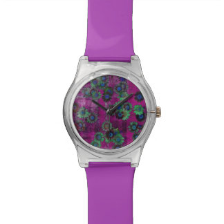 Girly Purple Floral Pattern Watch
