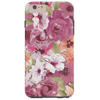 Girly Purple Floral Tough iPhone 6 Plus Case