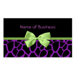 Girly Purple Giraffe Print With Cute Green Ribbon Pack Of Standard Business Cards
