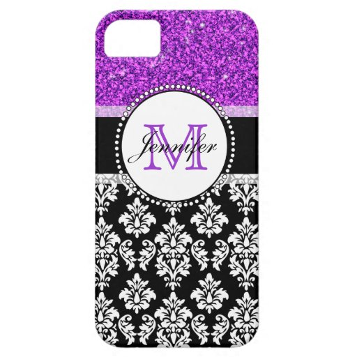 Girly Purple Glitter Black Damask Personalized iPhone 5/5S Covers