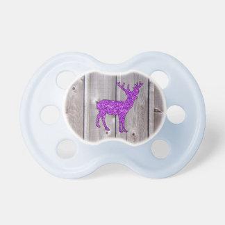 Girly Purple Glitter Deer Rustic Style Baby Pacifier