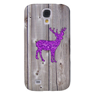 Girly Purple Glitter Deer Rustic Style Galaxy S4 Case