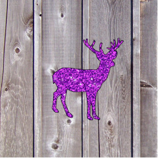 Girly Purple Glitter Deer Rustic Style Standing Photo Sculpture