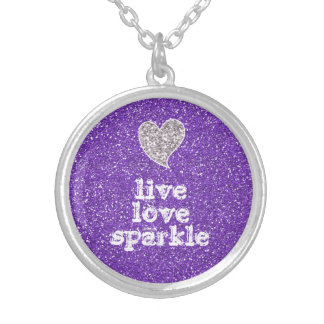 Girly Purple Glitter Live Love Sparkle Quote Silver Plated Necklace