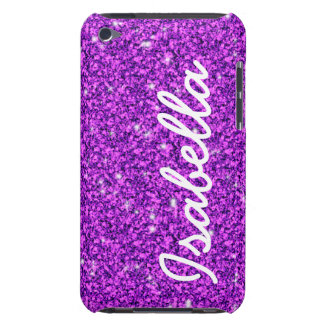 GIRLY PURPLE GLITTER PRINTED PERSONALIZED iPod Case-Mate CASE