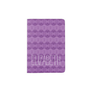 Girly Purple Lacy Pattern Custom Name W03 Passport Holder
