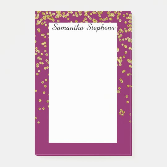 Girly Purple Mauve and Faux Gold Glitter Confetti