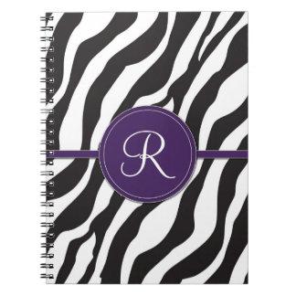 Girly Purple Monogram Zebra Print Spiral Notebook