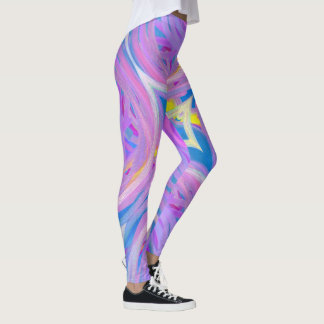 Girly Purple Pink Blue Abstract Spiral Pattern Leggings