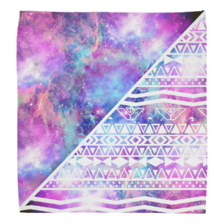 Girly Purple Pink Nebula Space White Tribal Aztec Bandana