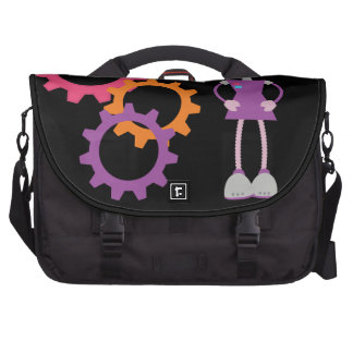 Girly Purple Retro Robot Commuter Bags