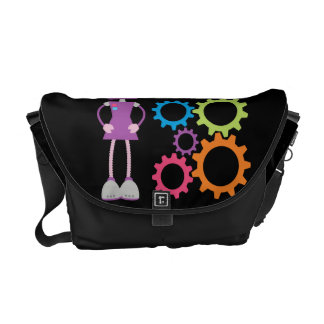 Girly Purple Retro Robot Courier Bags
