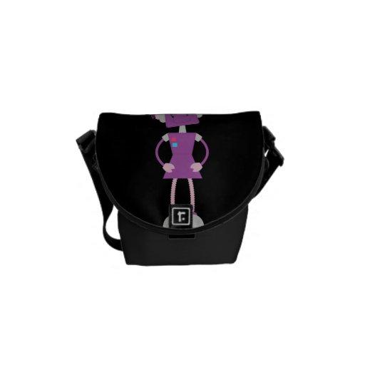 Girly Purple Retro Robot Messenger Bag