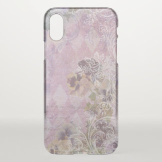 Girly Purple Shabby Floral Collage iPhone X Case