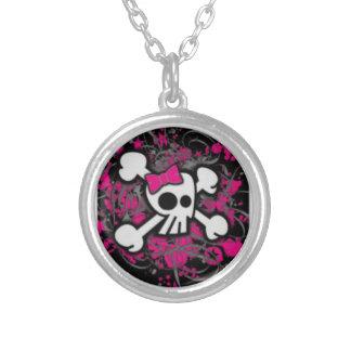 Girly Purple Skull Silver Plated Round Necklace