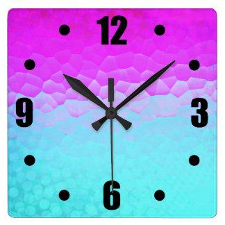 Girly Purple Turquoise Ombre Mosaic Bokeh Pattern Clocks