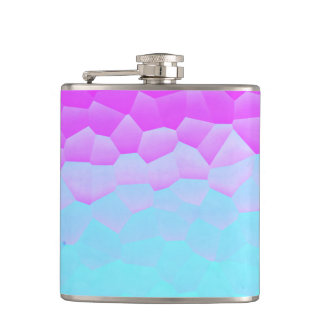 Girly Purple Turquoise Ombre Mosaic Bokeh Pattern Hip Flask