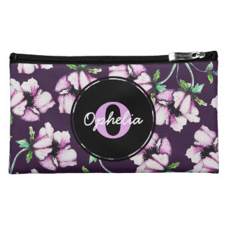 Girly Purple Watercolor & Ink Flowers & Name Cosmetic Bag