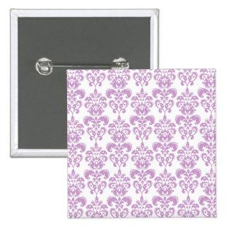 Girly Purple White Vintage Damask Pattern 2 Pin