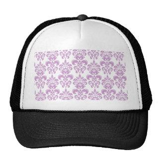 Girly Purple White Vintage Damask Pattern 2 Cap