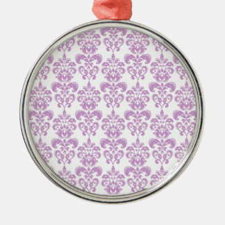 Girly Purple White Vintage Damask Pattern 2 Christmas Ornament