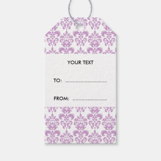 Girly Purple White Vintage Damask Pattern 2 Gift Tags