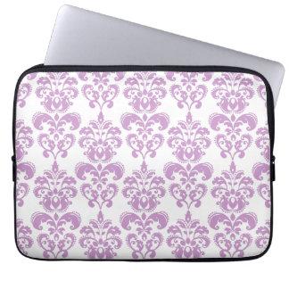Girly Purple White Vintage Damask Pattern 2 Laptop Sleeve