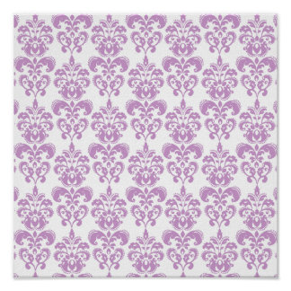 Girly Purple White Vintage Damask Pattern 2 Poster