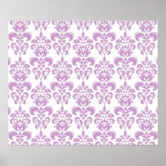 Girly Purple White Vintage Damask Pattern 2 Poster