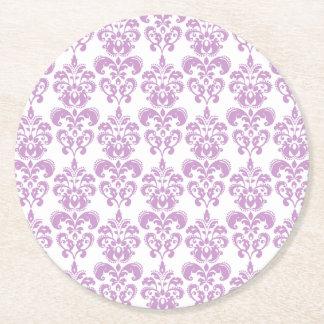 Girly Purple White Vintage Damask Pattern 2 Round Paper Coaster