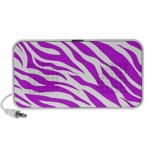 Girly Purple White Zebra Stripes Wild Animal Print Portable Speakers