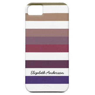 Girly Purple Wide Horizontal Stripes With Name iPhone 5 Covers