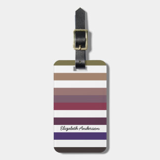 Girly Purple Wide Horizontal Stripes With Name Luggage Tag