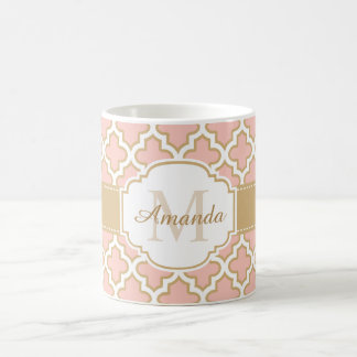 Girly Quatrefoil Moroccan Pink Coral Monogram Basic White Mug