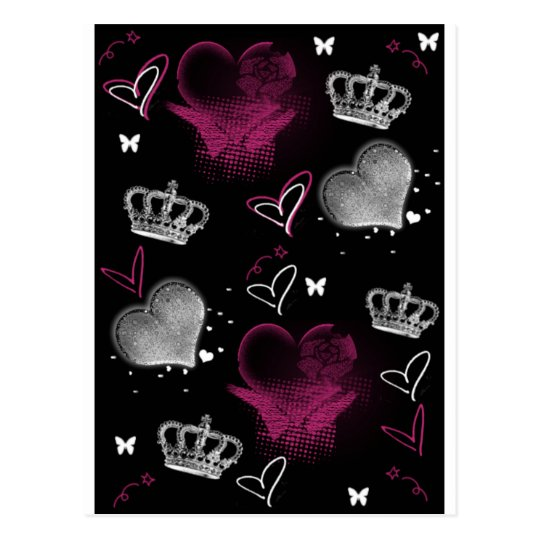 Girly Queen of hearts Postcard