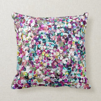 Girly Rainbow Faux Sequins Bling Cushion