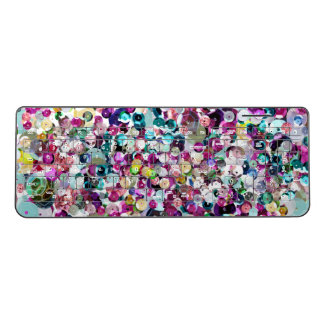 Girly Rainbow Faux Sequins Bling Wireless Keyboard