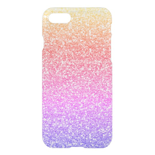 Girly Rainbow Glitter Effect Clear iPhone 7 Case
