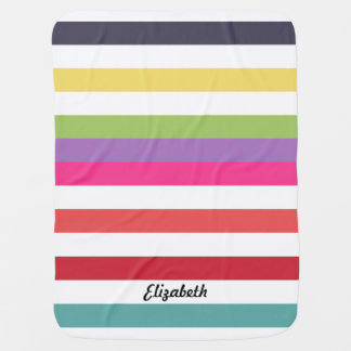 Girly Rainbow Wide Horizontal Stripes With Name Baby Blanket