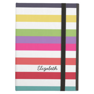 Girly Rainbow Wide Horizontal Stripes With Name Case For iPad Air