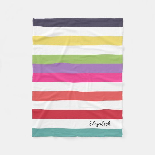 Girly Rainbow Wide Horizontal Stripes With Name Fleece