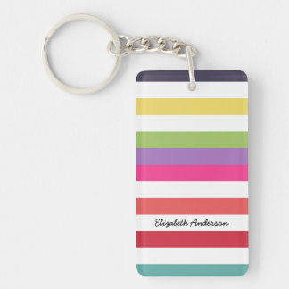 Girly Rainbow Wide Horizontal Stripes With Name Key Ring