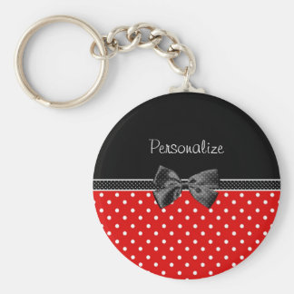 Girly Red and Black Polka Dots With Bow and Name Key Ring