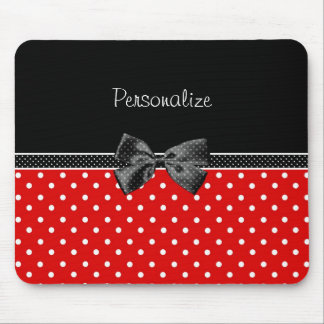 Girly Red and Black Polka Dots With Bow and Name Mouse Mat