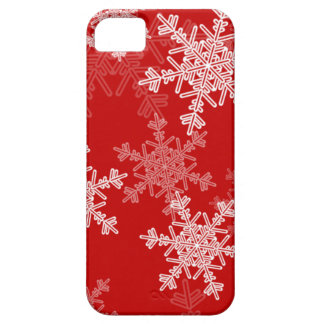 Girly red and white Christmas snowflakes iPhone 5 Case