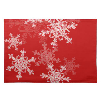 Girly red and white Christmas snowflakes Placemat