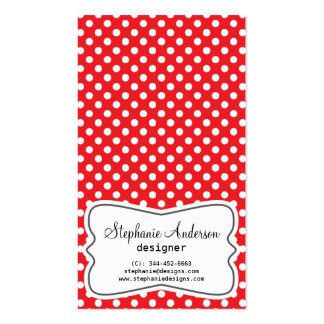 Girly Red and White Polka Dots Business Card