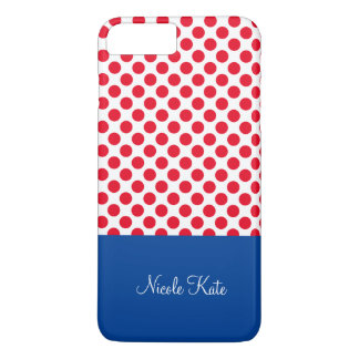 Girly Red Blue Polka Dots Monogram iPhone 7 Plus Case
